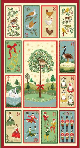 Makower - 12 Days of Christmas - Cotton Christmas Quilt Panel